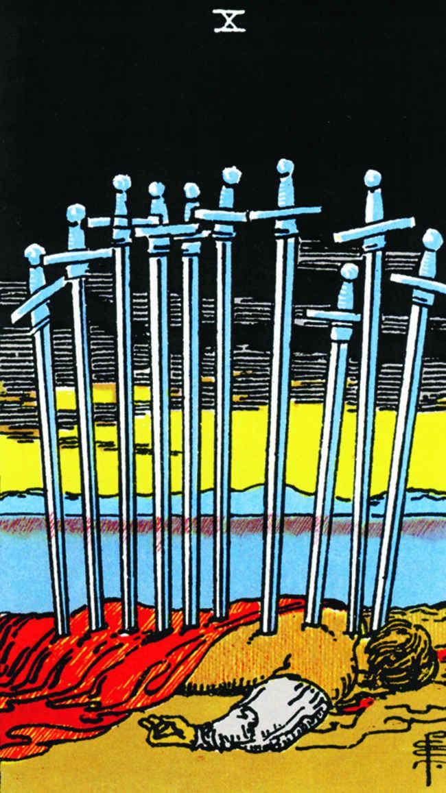 Значение прямой и перевернутой Десятки мечей Таро, сочетания с другими картами, толкование