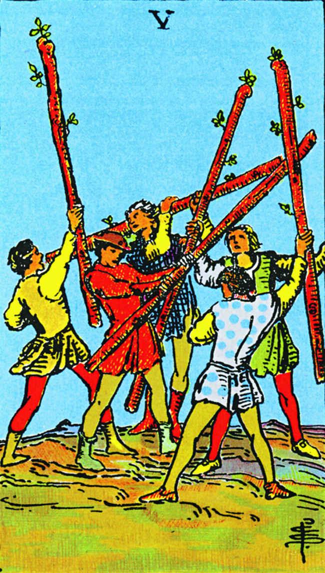 Пятерка жезлов (младший аркан Таро): значение карты , идеи, советы